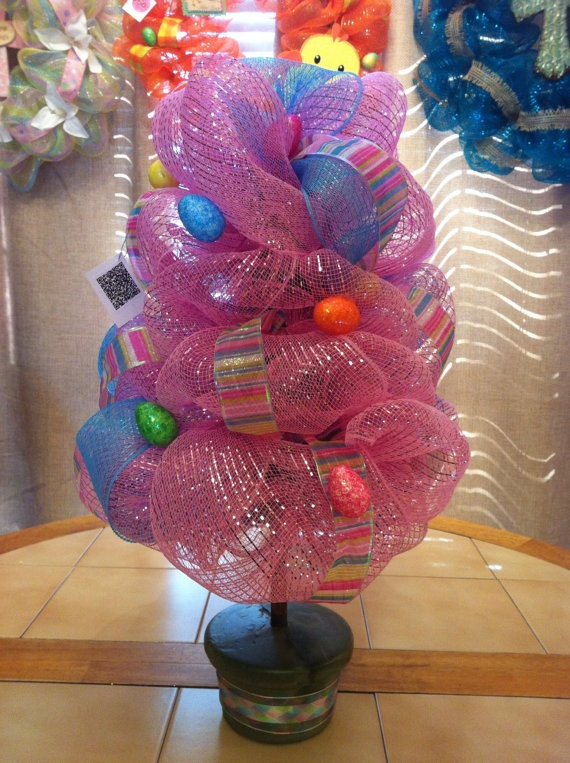 Easter Deco Mesh Topiary by MoniquesWreaths on Etsy, $35.00