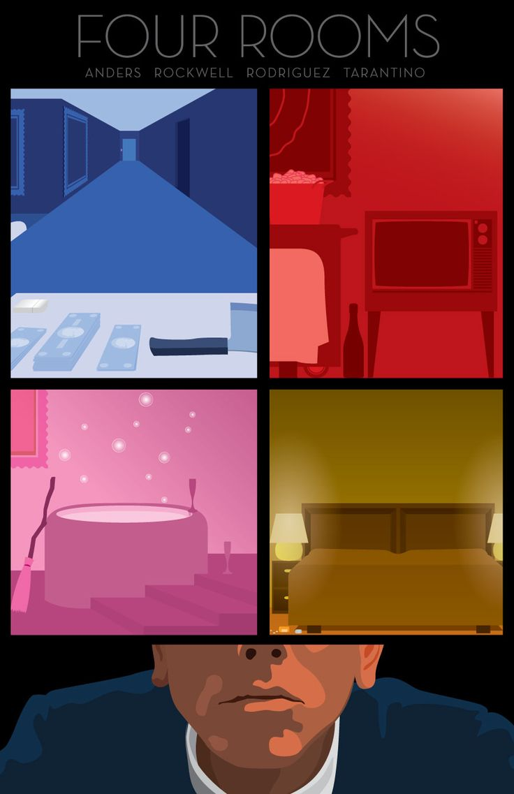 Four Rooms (1995) ~ Minimal Movie Poster by Kevin Dixon #amusementphile