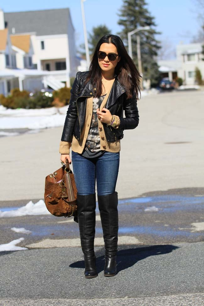 leather jacket, tall boots, lots of layers, like the black and tan