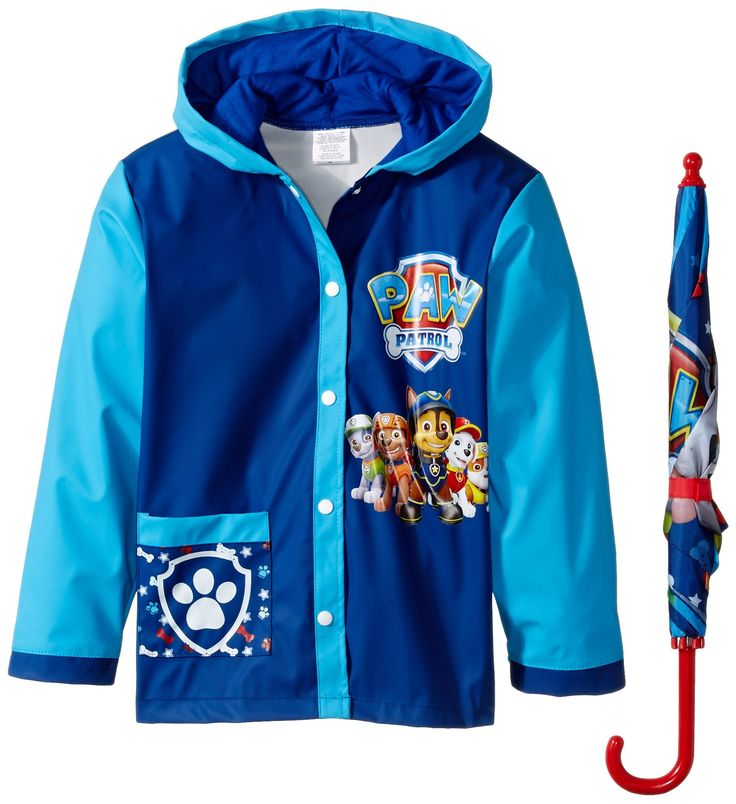 Nickelodeon Little Boys Paw Patrol Slicker and Umbrella, Multi, Medium/Large. Perfect for any occasion; from a school day to a holiday night. Each raincoat is lightweight for mobility and comfort. Each raincoat comes with snap closures in the front. Raincoat hood is lined with cotton for maximum comfort.
