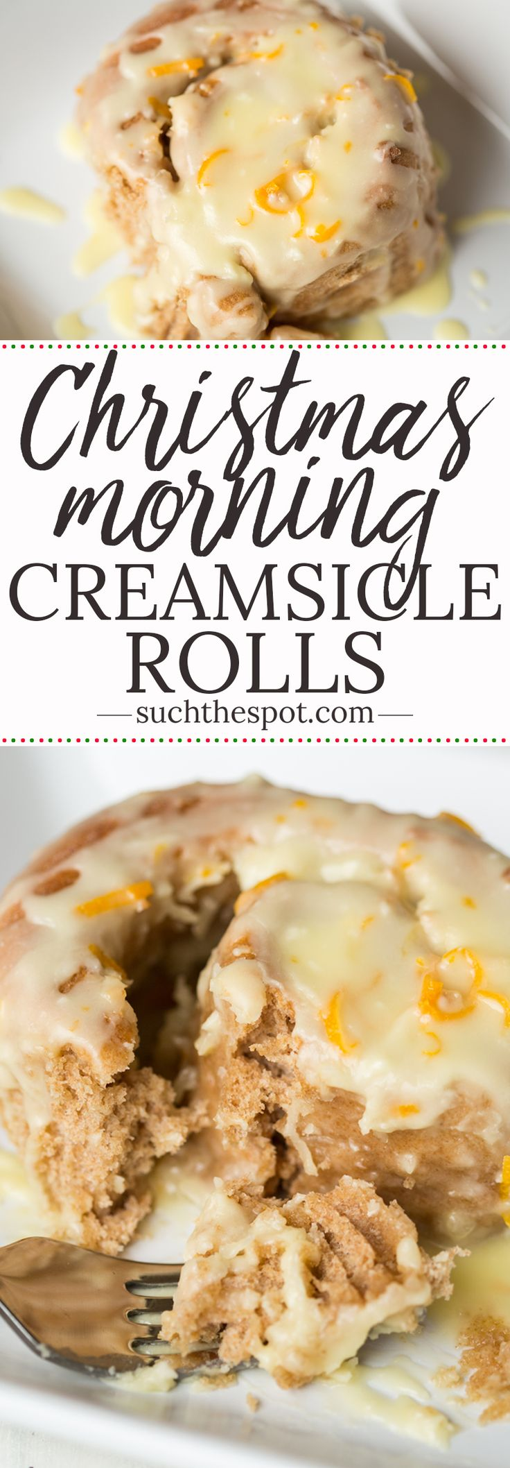 These homemade Orange Creamsicle Rolls are a sweet breakfast or brunch treat for a crowd. Made with whole wheat flour in a bread machine, they're pollowy soft and sweet and delicious. #Christmas #breakfast