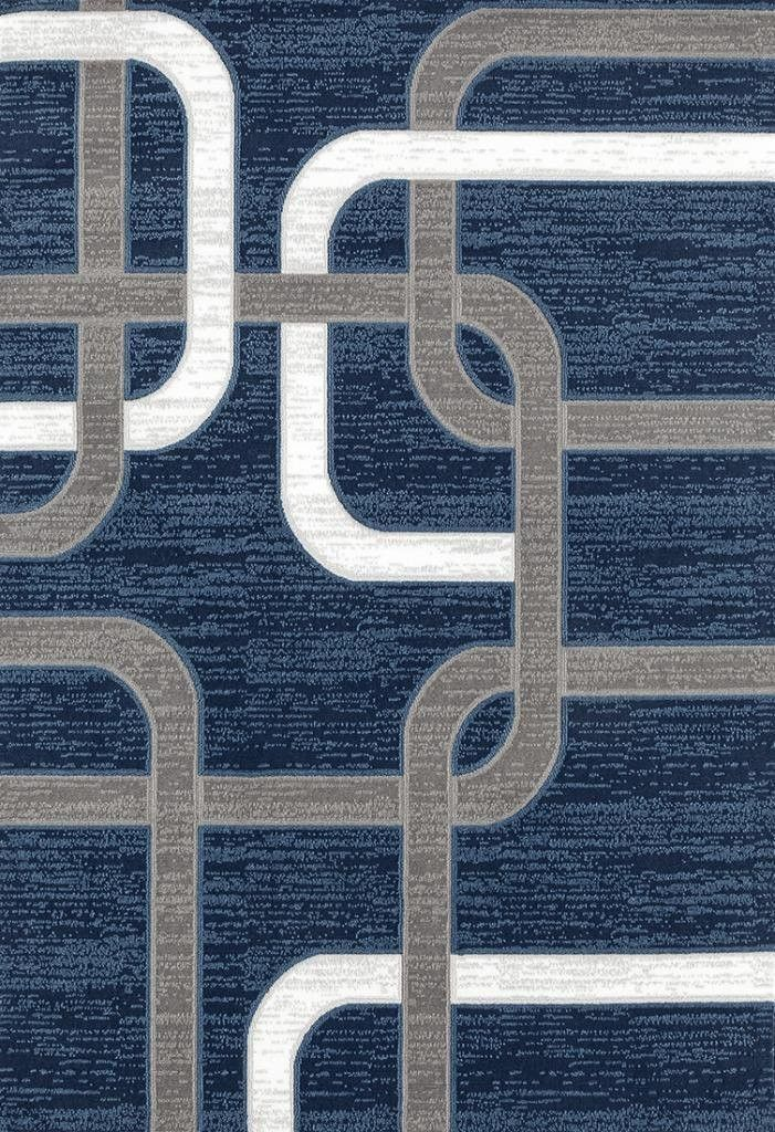 Blue Gray Geometric Contemporary Clearance Area Rugs - Bargain Area Rugs