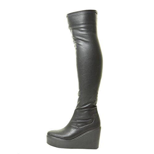 Damen Overknee-Keil Strecken Weit Calf Schwarz Platform Gote Klobig Stiefel Größe 36 37 38 39 40 41 - http://on-line-kaufen.de/tilly-london/damen-overknee-keil-strecken-weit-calf-schwarz-36