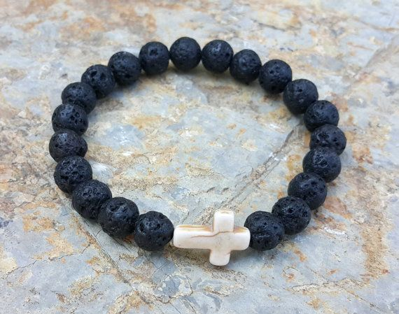 Check out this item in my Etsy shop https://www.etsy.com/uk/listing/400622057/mens-cross-bracelet-lava-stone-spiritual