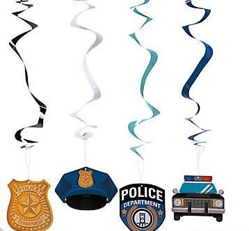 12 pcs. Police Party Hanging Swirls-police by LOVEHAPPYCREATIONS