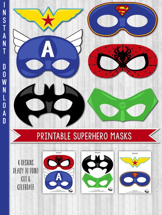 INSTANT DOWNLOAD Superhero Party Masks, Superhero Birthday Party Masks, Photo Props, DIGITAL Printable file