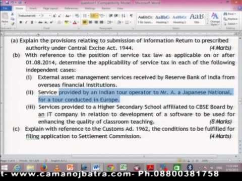 Class 2  - Important Amendment in Service Tax by CA MANOJ BATRA  CA FINAL GROUP II -  INDIRECT TAXES from GAAP BRIGHT