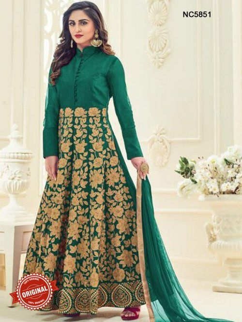 Green Semi Silk Designer Anarkali Suit