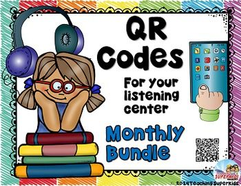 QR Codes Listening Centers Bundle Save 25%I have had several requests to create a bundle pack of my QR Codes for Listening Centers. QR Codes are an excellent way to enhance your Daily 5, literacy station and reading centers. This bundle of QR Codes is packed full of classic monthly themed books that your students are sure to love.