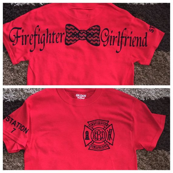 Short sleeve firefighter girlfriend wife mom by StudioChaseDesigns