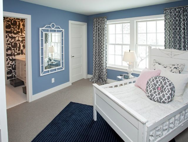 blue walls white bedroom furniture placement idea - Bedroom Placement Ideas