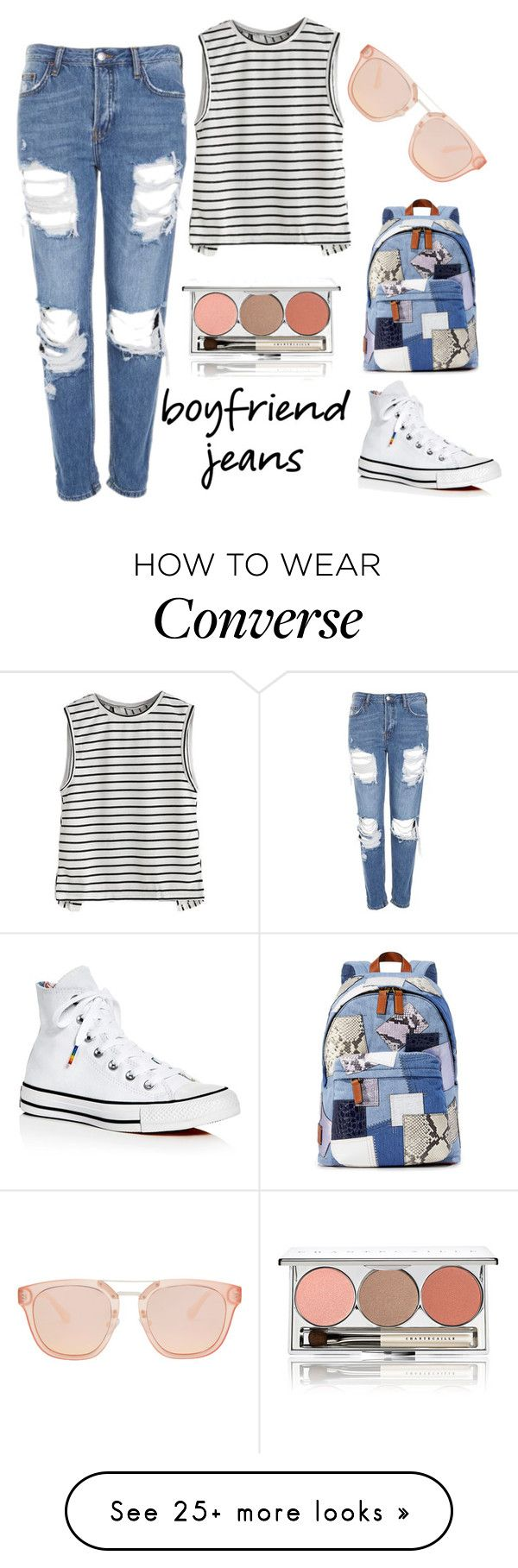 """Boyfriend Jeans"" by muskrosevintage on Polyvore featuring Topshop, Marc Jacobs, Chantecaille and Converse"