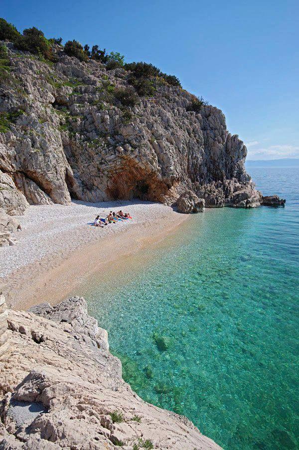 Beach in Brseč (the medieval town perched on a cliff 157 meters high), Croatia #croatia #hrvatska