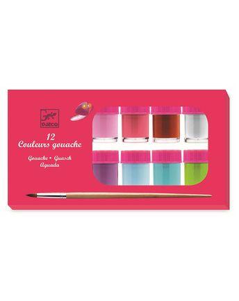 Gouachefarben POTS GIRL mit 12 Farben & Pinsel