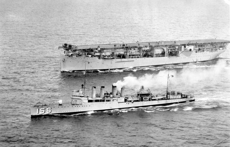 "tin-can-sailor: "" USS Langley (CV-1) Stacks down, flight quarters, South Pacific, probably in the mid-1930s. USS Cole (DD-155) in the foreground """