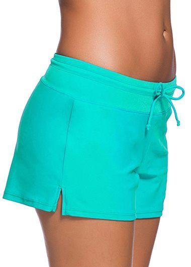 Drawstring Waist Solid Cyan Swimwear Shorts on sale only US$23.74 now, buy cheap Drawstring Waist Solid Cyan Swimwear Shorts at liligal.com