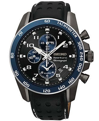 Seiko Watch, Men's Chronograph Sportura Black Leather Strap 42mm SNAF37 - Men's Watches - Jewelry & Watches - Macy's