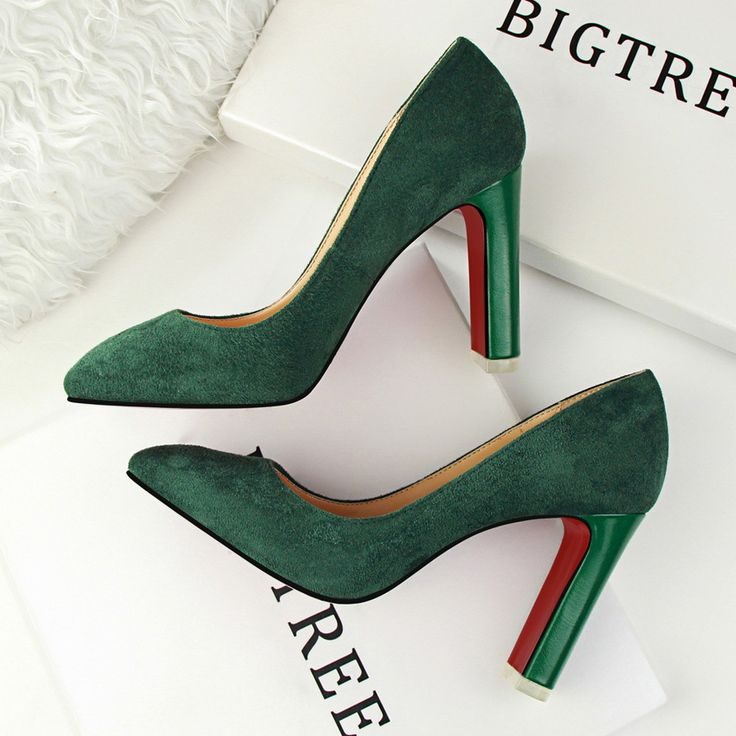 New Office Lady Pumps Thick Heel Square Toe Fashion Women High Heels Shoes Suede Flock High-heeled OL Single Heeled Shoe G9509
