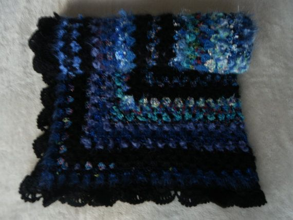 A Lovely Sapphire Blue Crochet Lapghan/knee by LynTheobaldCraft