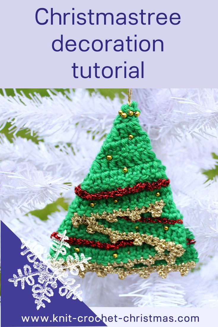Videotutorial for crocheted Christmastree decoration. Step by step instructions for making the tree using a folded semicircle.