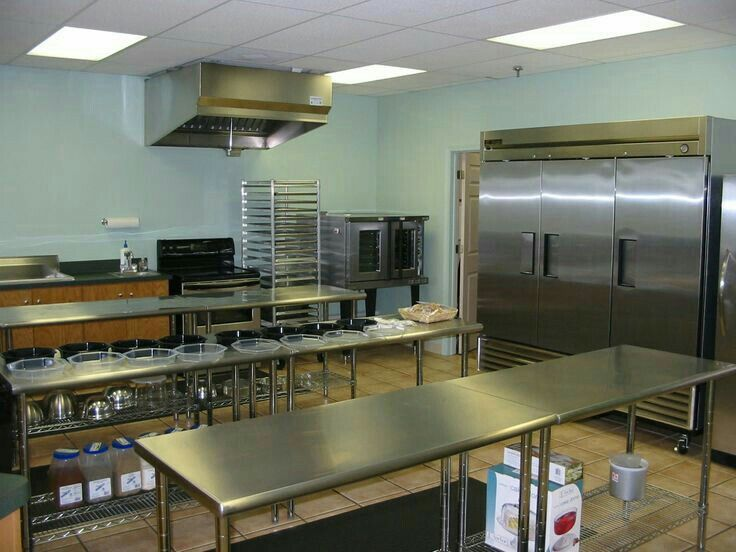 Furniture,Terrific Small Restaurant Kitchen Design With Great Cooker Hook  Above Ovenstove And Long Rectangular Stainless Steel Table Also Stainless  Steel ...