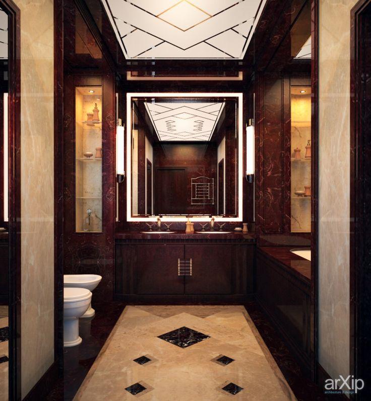 Фото СУ лакшери стайл Барвиха виладж - интерьеры, квартира, дом, санузел, ванная, туалет, ар-деко, 10 - 20 м2, высокий