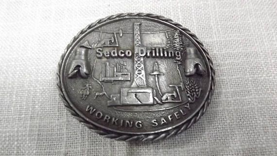 Vintage Sedco Drilling Belt Buckle Working Safely Oil Field