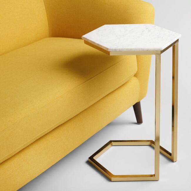 Marmor und Gold Margaux Laptop Tisch – v6