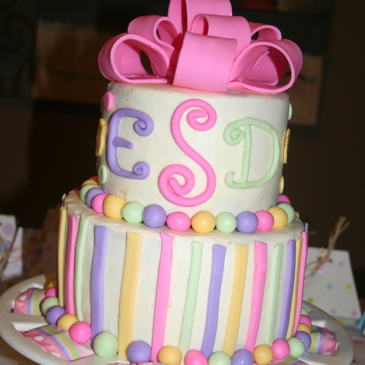 Tiered-pastel stripes/dots: With, Tays Bday, Cake Ideas, Cakes Food, Tiered Pastel Stripes Dots, Birthday Cakes, Baby Shower