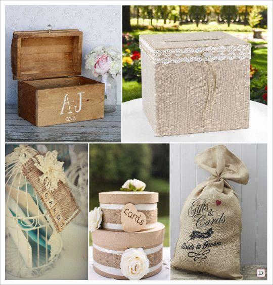 mariage rustique champêtre urne de mariage coffre en bois boite toile de jute sac en toile de jute