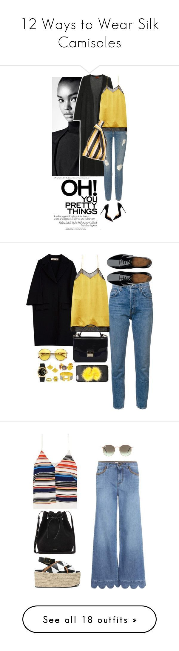 """""""12 Ways to Wear Silk Camisoles"""" by polyvore-editorial ❤ liked on Polyvore featuring waystowear, silkcamisoles, Christian Louboutin, Missoni, Frame, Gucci, STELLA McCARTNEY, Marni, 10 Crosby Derek Lam and FitFlop - lingerie sites, lingerie pas cher, females in lingerie *ad"""