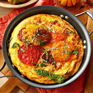 Heirloom Tomato, Ham and Fontina Frittata - add a simple salad of some ...