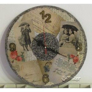 Clock decorated with decoupage paper
