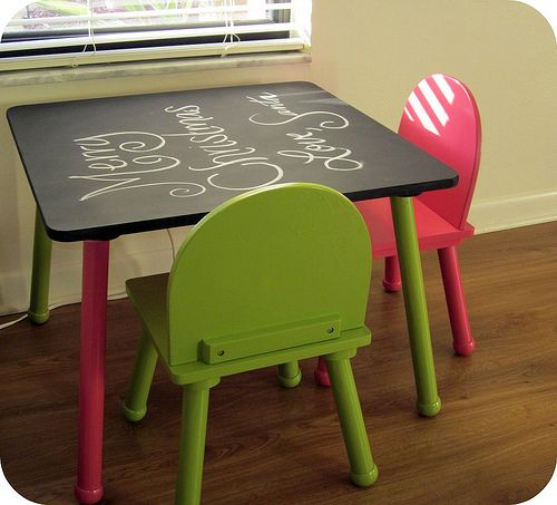 Pink And Green Kids Chalkboard Table Chair Set