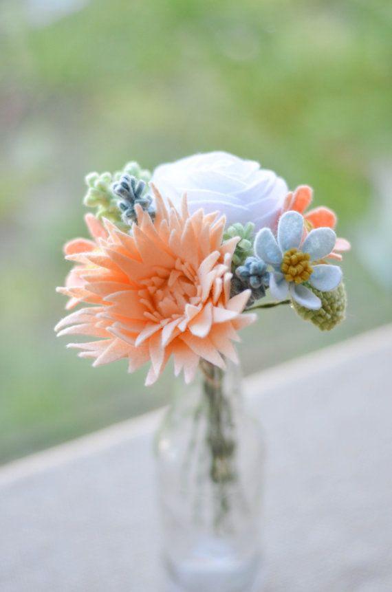 Rose Mum Wildflower & Billy Button Felt Flower by LeaphBoutique
