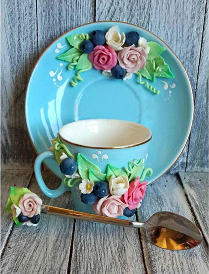 Realistic flowers Polymer clay Handmade mugs, Personalized mugs, Polymer clay design, Custom mug, Coffee mugs, Unique by SolarStoneArt, $52.00 USD