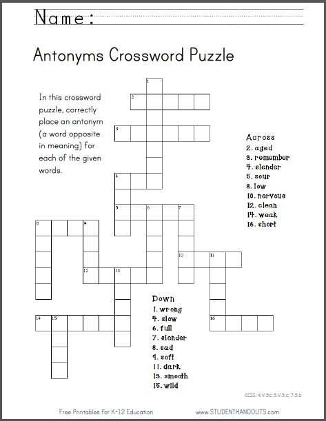 Antonyms Crossword Puzzle Free To Print Pdf File Ccss