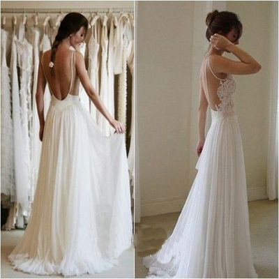 open back wedding dress ,long wedding dress ,a-line wedding dress  ,chiffon…