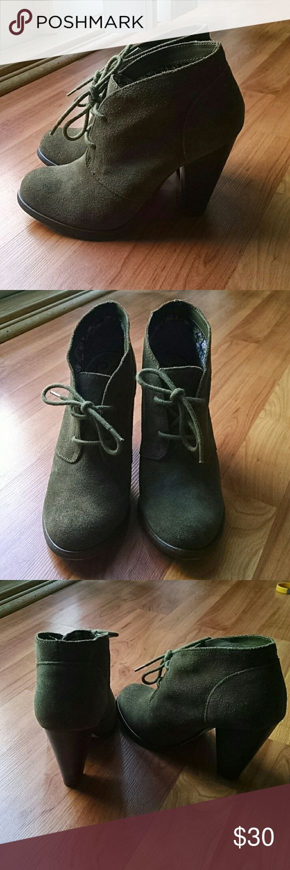 Olive Green Ankle Booties Seychelles olive army green ankle booties. So cute with skinny jeans or leggings. Great condition with the exception of one tiny scuff on the back heel of one bootie, picture 4. Size 6.5 Seychelles Shoes Ankle Boots & Booties