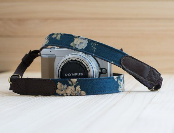 Navy Blue Floral Vintage Camera Strap for Mirror $25AUD  by GoOnDesign