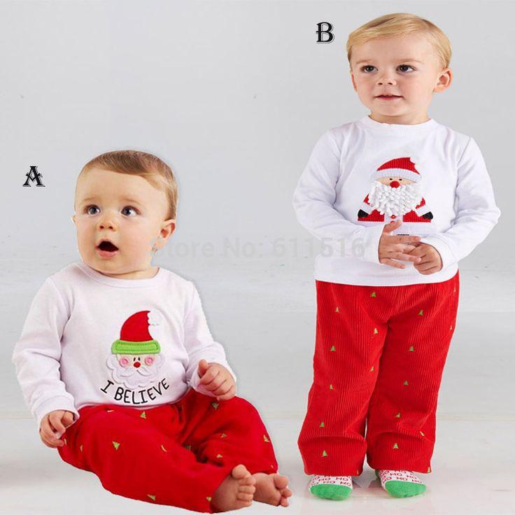Мальчик Vestion 2 - 8 лет мальчик рождественские одежда дети дед мороз с длинными рукавами футболки и красные штаны 2 моделей бесплатная доставка