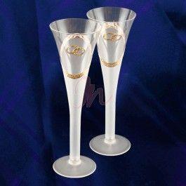 Set de 2 pahare din sticla cu picior mat. Elemente decorative handmade de culoare aurie