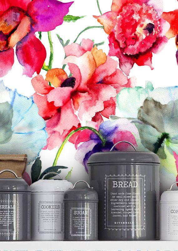 Aquarel bloemen behang  5pictures/bloemen door FloralBotiqueWall