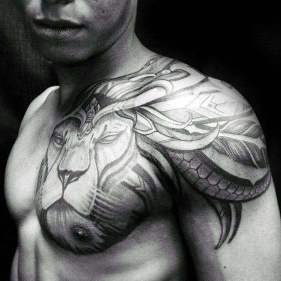 Tribal shoulder male lion tattoo designs tattoo for Leo shoulder tattoos