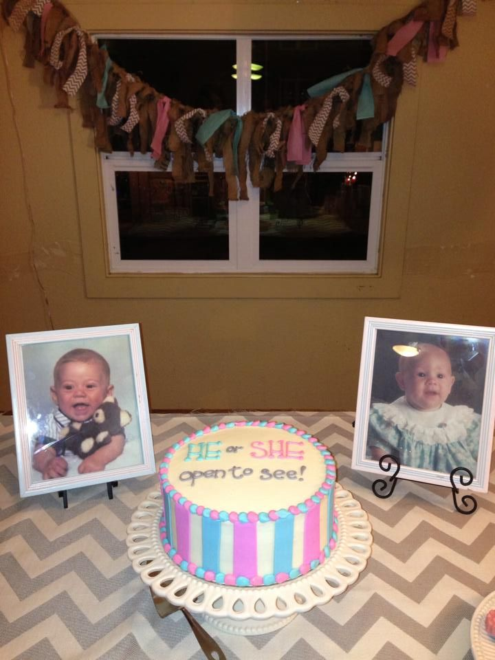 Gender Reveal Cake, Mom and Dad baby photos! #baby #heorsheopentosee
