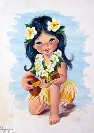 how cute is this hawaiian girl? She is wearing adorable plumeria in her hair and playing ukulele.