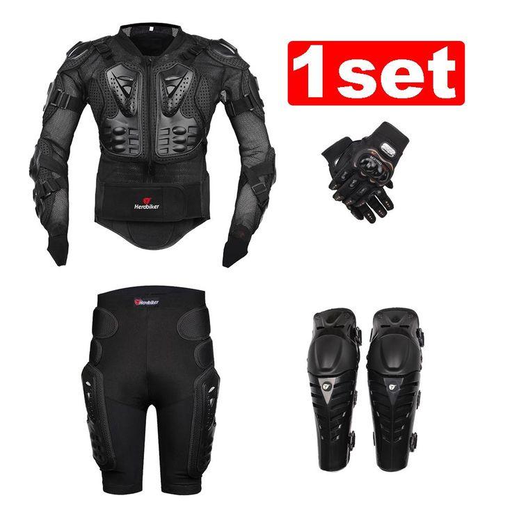 新しいmotoモトクロスレーシングオートバイのボディアーマー保護ジャケット+歯車ショートパンツ+保護オートバイ膝パッド+手袋