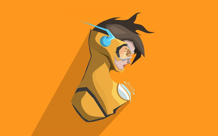 Download wallpapers Tracer, yellow background, cyber warrior, Overwatch