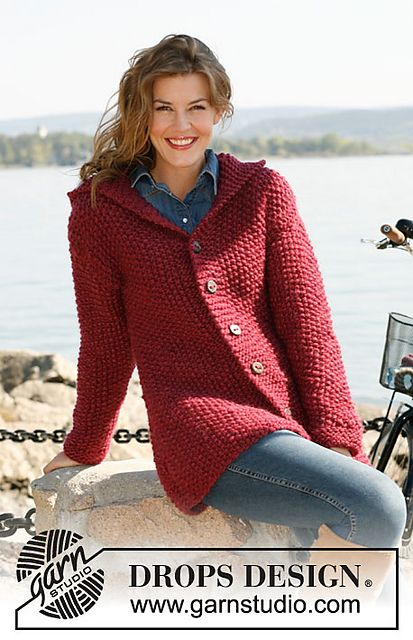 """Ravelry: 132-9 """"Aurora"""" - Jacket in seed st with hood in """"Andes"""" or """"Eskimo"""" pattern by DROPS design - free pattern"""