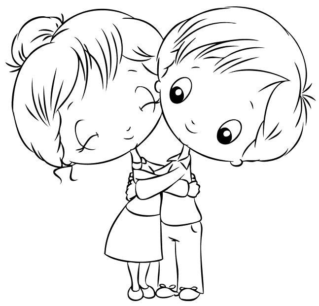 Нарисованные картинки обнимашки детей